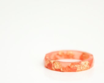 sunset orange and gold ring size 7 geofaceted eco resin