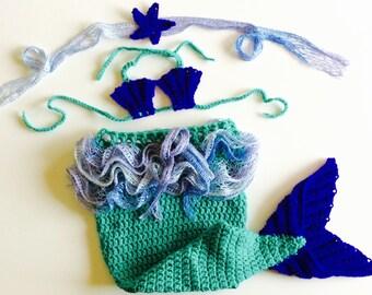 Mermaid Baby set, Mermaid photo prop set, Ariel Photo Prop Set, Mermaid Costume, Availble in sizes from Newborn to 12 months