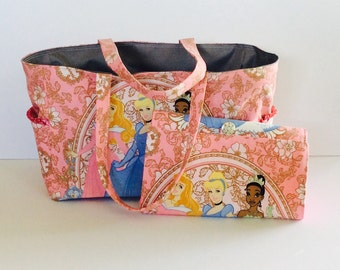 MADE TO ORDER Disney Princess Diaper Bag Set, All-in-One diaper clutch and changing pad