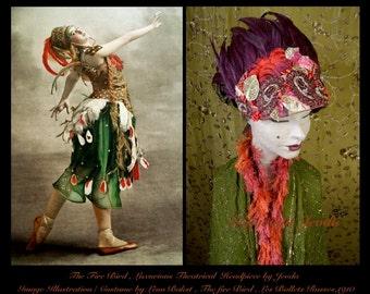 Tribal Headdress,Feather Headpiece,Feather Headdress,Belly Dance,Fantasy Headpiece,Burlesque Headdress,Fascinator Headpiece,Wearable Art