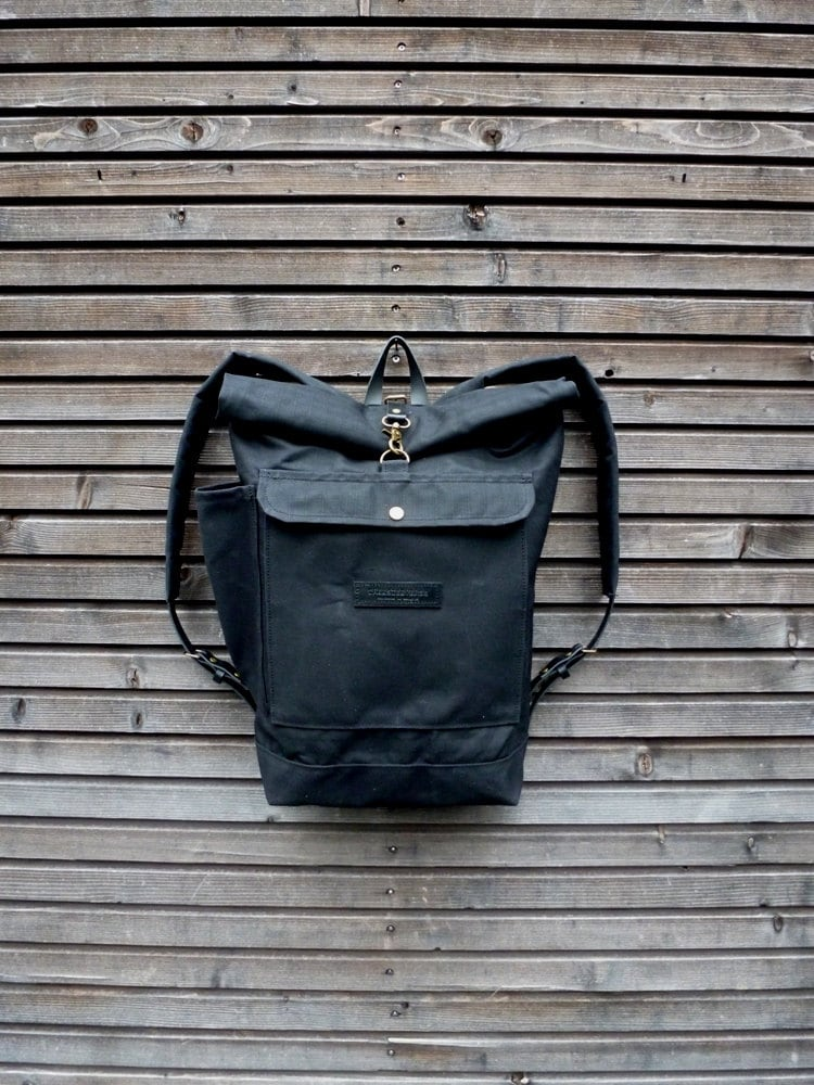 waxed canvas rucksack waterproof backpack with roll up top. Black Bedroom Furniture Sets. Home Design Ideas