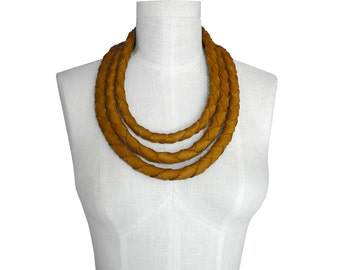 Chunky necklace - Bold necklace - Braided leather necklace - Layered necklaces - Leather necklaces - Honey Tan leather - Woven leather