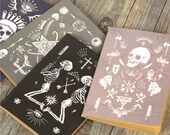 Bohemian gothic pirate skull skeleton kraft paper notebook journal moleskine notepad. Black, khaki, pale pink or navy color