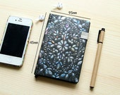 Black medium size journal with iridescent blue floral pattern. White pages, vintage style lined hardback notebook diary