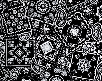 Black Bandana fabric, 100% cotton fabric for general arts and crafts and all sewing projects.