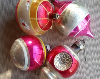 Four (4) Vintage Silvered Pink Glass Christmas Ornaments