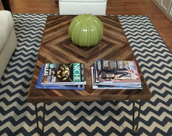 Reclaimed Wood Coffee Table with Hairpin Legs - Wood Table - Chevron Table