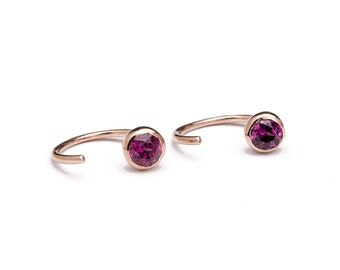 Dainty Purple Garnet Hug Hoops, Sterling Silver Gold Plated, Hug Earrings, Open Hoops, Minimal Lunaijewelry, Gift for Girlfriend, EAR039PGR