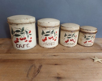 Old french kitchen metal canisters containers cherries 1930s
