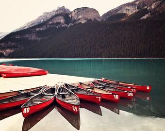 Rocky Mountains - Fine Art Print, Banff, Lake Louise, Landscape, Canadian Rockies, Red Canoe, Mountain, Lake, Large Wall Art, Lake Photo,