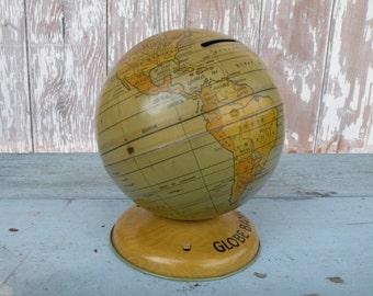 Vintage metal globe / Globe Bank , made by J Chein, very nice display