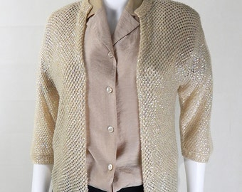 Original Vintage 1980s Cream/Lemon Sequin Open Cardigan UK Size 14/16