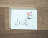 West Highland Terrier - flower crown - westie print