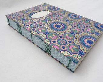 Oriental journal, A5, notebook, coptic, recycled, coloured pages, thick,