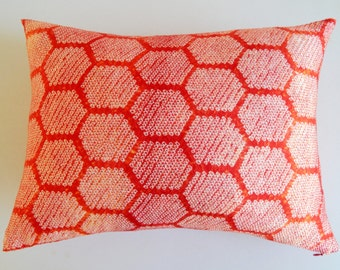 Orange Red Hexagon Shibori Pillow Cover - Vintage BohoThrow - Modern Tie Dye Pillow