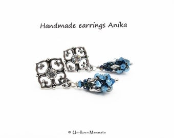 Handmade earrings Anika/ Metallic Blue2x