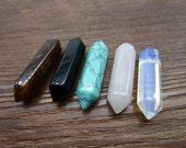 Mixed 5pcs 8x32mm Crystal Quartz Point Pendant, Crystal Quartz Charm, Crystal Quartz Double Terminated Point Pendant with 10pcs Gift Bail