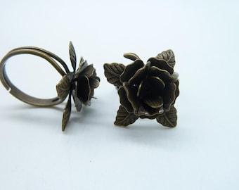 10pcs 16mm Antique Bronze Brass Rose Flower Adjustable Rings C8297