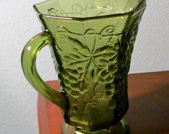 Vintage Anchor Hocking Grape and Leaf Design Pitcher