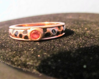Vintage Rose Gold Single Ruby Stone Ring Size 6 3/4