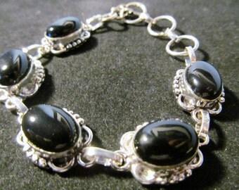 Vintage Sterling Silver Bracelet with Onyx Stones