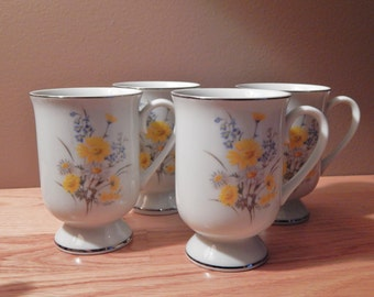 Fanci Florals Collection Marsh Marigold Porcelain China Mugs Set of Four