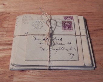 Vintage Three Cent Postage Stamps with Envelopes Set of Fourteen 1934 & 35