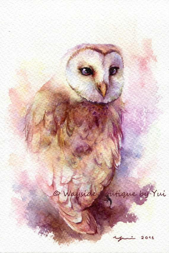barn owl original watercolor painting 75x11 inches