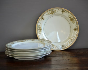 Six Salad Plates Haviland Eugenie Black Laurel & Swags / Vintage Fine China Gold Trim