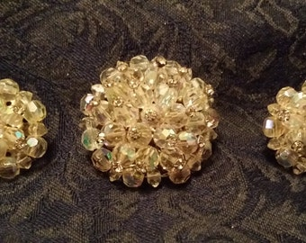 EXQUISITE Pin & Clip Earring Set w/ Faceted AB Beads Rhinestones VINTAGE