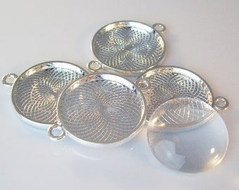 100 Shiny Silver 25mm Round Bezels with 2 Connector Loops and 100 25mm Glass Cabochons