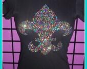 Large Design Mardi gras shirt Colorful Fleur di Lis Tank top or Tshirt NOLA Tshirt Fat Tuesday New Orleans Bling Fleur Di Lis tshirt