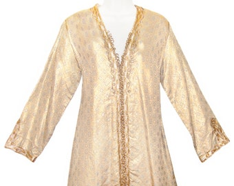 Antique Silk Caftan, Moroccan, Gold and Silver Embroidery