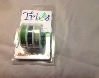 TRIOS Renewal Soft Flex bead wire Peridot* Emerald* Chrysoprase