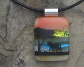 Reserved Listing-Horse Necklace Dichroic Fused Glass Pendant Horse Jewelery