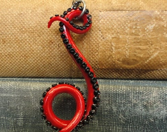Black and Red Polymer Clay Tentacle Necklace