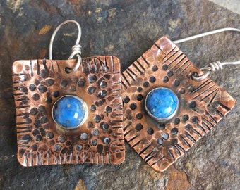Textured copper and lapis earrings