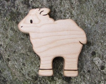 Sheep Wooden Toy, Maple Wood Lamb- all natural teether for baby, or toddler toy