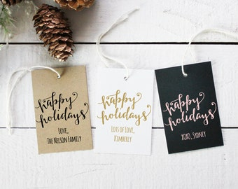 Happy Holidays Gift Tags | Christmas Gift Tags | Christmas Present Tags | Personalized Holiday Tags | Holiday Favor tags - Set of 12