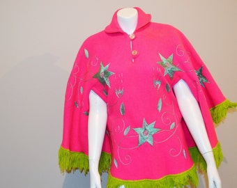 Vintage Hippie Shawl Blanket with Fringe