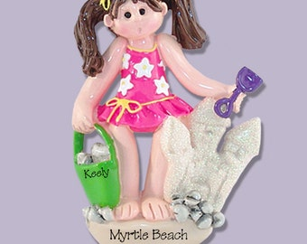 Giggle Gang GIRL at the BEACH Personalized Christmas Ornament Hand Painted RESIN