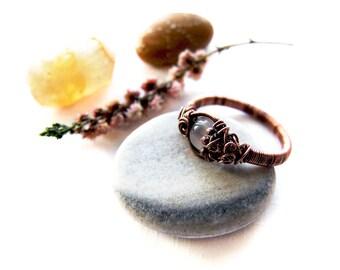 Autumn Agate Ring, Retro Copper Rustic Ring, Autumn Jewelry, Elvish Agate Ring