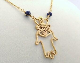 Gold Hamsa necklace, gold hand of miriam, gold hand of fatima, 14k gold filled hamsa pendant, evil eye protection pandant, oriental amulet