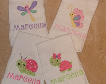 Turtle-Dragonfly-Butterfly-Snail Personalized Burp Cloth Set