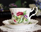 Royal Albert Thistle, Tea Cup and Saucer, English Bone China, Highland Thistle Teacup 13472