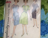 "Vintage Simplicity 4444 Day, Party, or Cocktail Dress Sewing Pattern 37"" Bust"