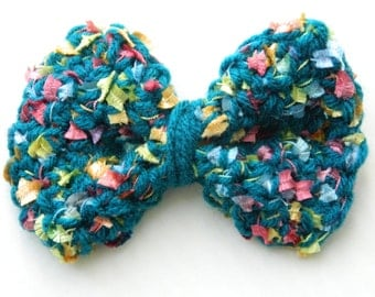 Crochet Hair Bows Toddler's Bows Hair accessories Kids Summer Bows Girls Spring Bows Colorful Hair Bows Teal Hair Bows