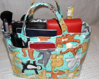 Purse Insert, Bag Organizer Insert, Bucket Style, 17 Pockets, Handles, Swivel Key Clasp -  Organize Handbag, Tote, Diaper Bag,Travel Bag