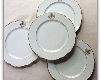 "Antique French Very Fine  Porcelain 10 "" Dinner Plates -Signed 19th C.Classical Paris Style Wedding China- Rihouel Lerosey,Paris"