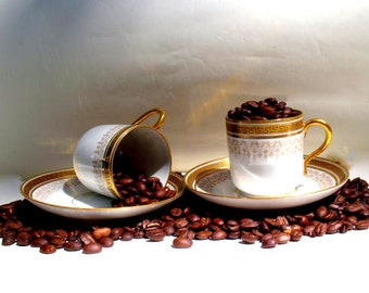 Vintage MCM CoffeeCup  Set - French Porcelain Espresso Cups-NeoClassical Design